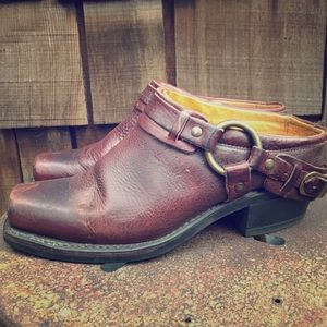 Frye Belted Harness Mules.